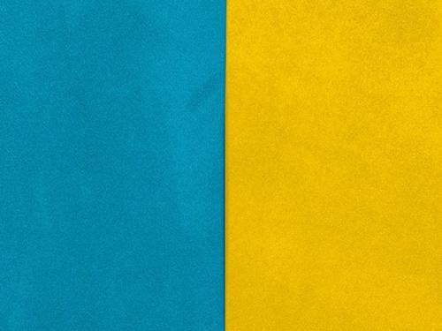 suédine réversible bleu ou jaune