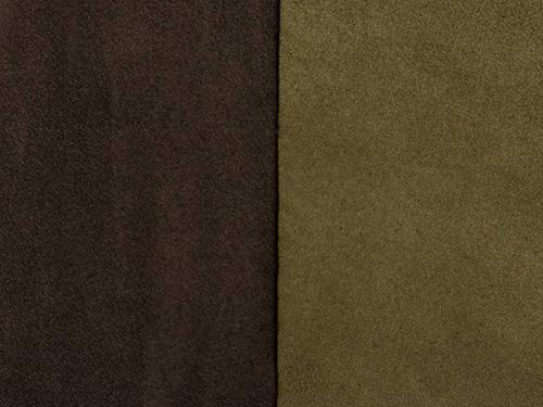 suédine réversible marron foncé ou kaki