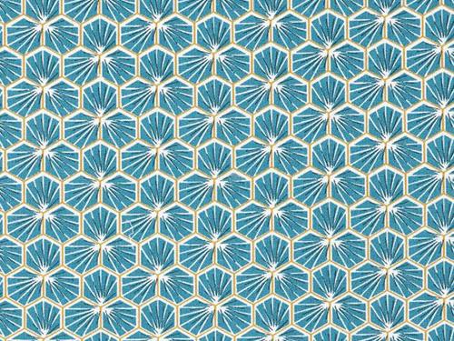 coton mosaïque bleu