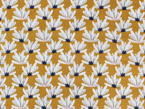 coton fleurs moutarde